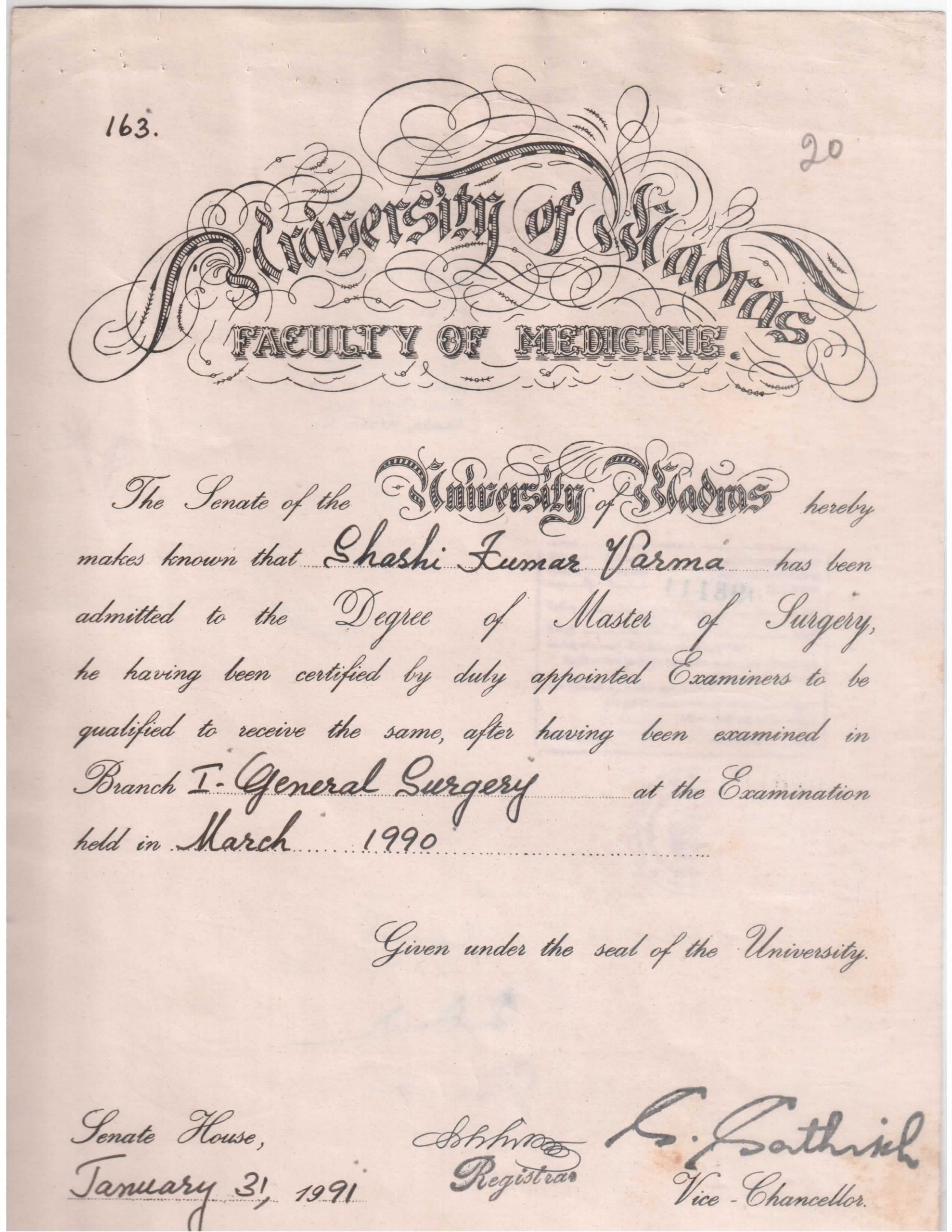 SK Varma (MS Certificate)